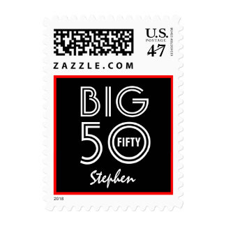 BIG 50th Birthday Party Bold Black White Red V02 Postage