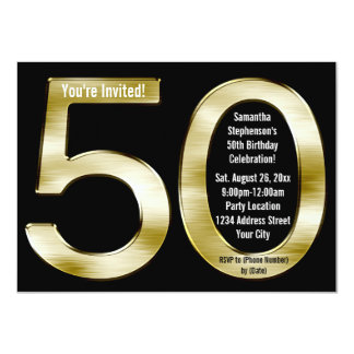 Big 5-0 Metallic-Look Gold 50th Birthday Party Card
