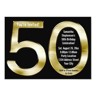 "Big 5-0 Metallic-Look Gold 50th Birthday Party 4.5"" X 6.25"" Invitation Card"