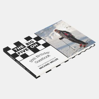 Big 5 Oh Photo Black White Checkered 50th Birthday Guest Book