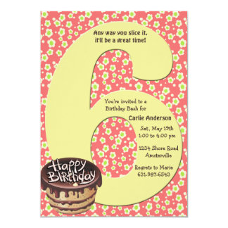 Big 6 Birthday Party Invitation