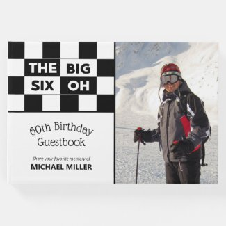 Big 6 Oh Photo Black White Checkered 60th Birthday Guest Book
