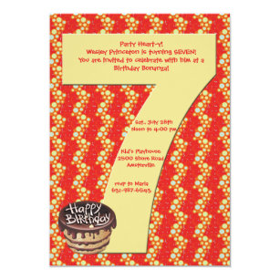 7 year old birthday invitations zazzle