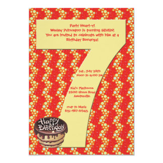 "Big 7 Birthday Party Invitation 5"" X 7"" Invitation Card"