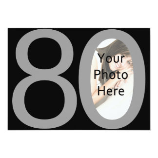 Big 8-0 Photo Birthday Party Invitations