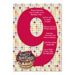Big 9 Birthday Party Invitation