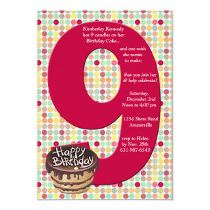 Big 9 Birthday Party Invitation