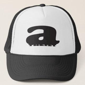 Big 'a' little 'theist' - Cool Atheist Logo Trucker Hat