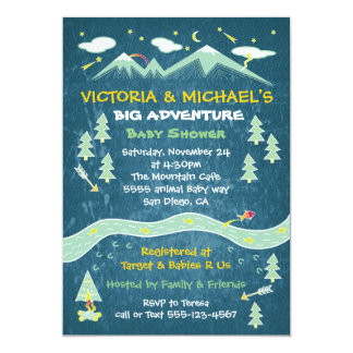 Big adventure rustic mountain folk art baby shower card