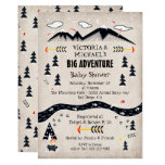 Big adventure rustic mountain tribal baby shower invitation