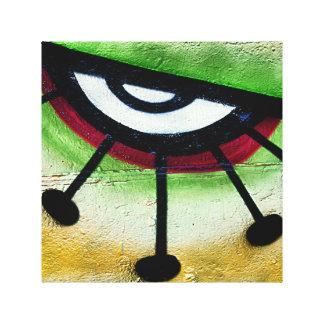 Big and colorful eye graffitti. canvas print