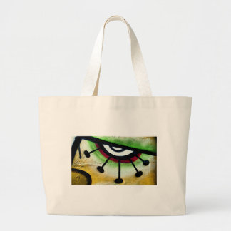 Big and colorful eye graffitti. large tote bag