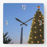 Big and Little Christmas Trees II Holiday in DC Square Wall Clock