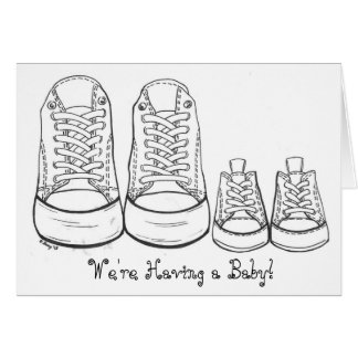 Big and Little Sneakers New Baby Shoe Announcement