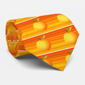 Big Apple Cartoon Vibrant Fruit Artistic Stripes Neck Tie