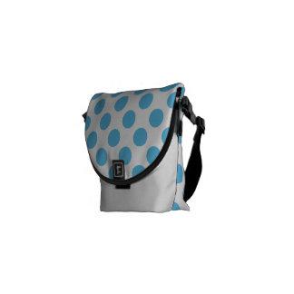 Big Aqua Dots on White Messenger Bag