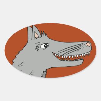 BIG BAD WOLF cartoon storybook red riding hood Oval Sticker