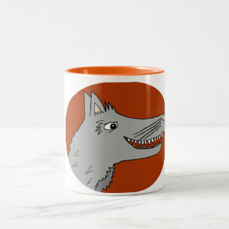 BIG BAD WOLF cartoon storybook red riding hood Two-Tone Coffee Mug