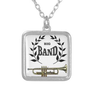 big band trumpet silver plated necklace