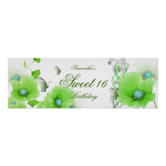 big Banner Birthday Pretty Green Floral White Poster