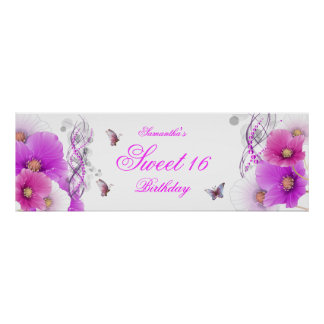 big Banner Birthday Pretty Pink Floral White Poster