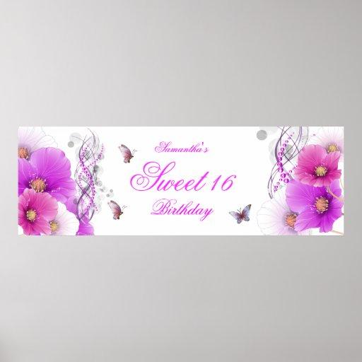 big Banner Birthday Pretty Pink Floral White Poster