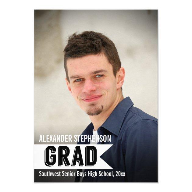 Big Banner Guys Custom Photo Graduation Invitation