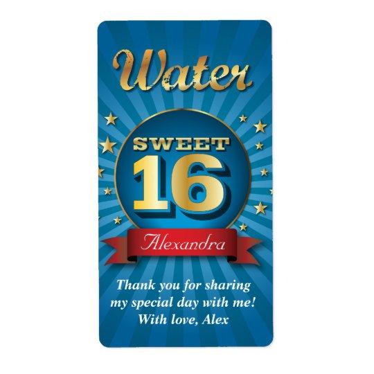 Big Bash Sweet 16 Water Bottle Label