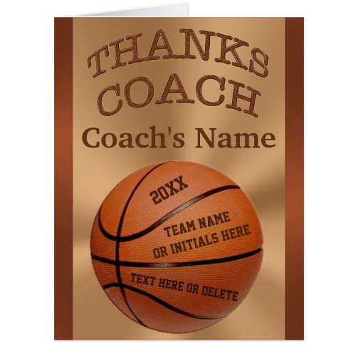 Gift Ideas For Basketall Coach Players Names Basketball Personalized Custom Coach Thank You Coaches Coach Basketball Thanks Cards Appreciation