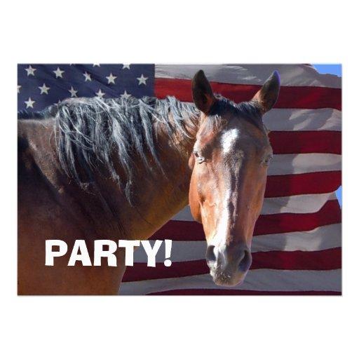 Big Bay Horse & U.S. Flag - Western Party Invitations