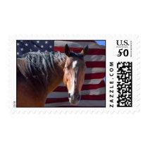 Big Bay Horse & U.S. Flag - Western Postage