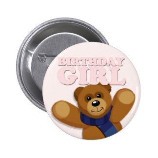 Big Bear Birthday Girl Badge Pinback Button