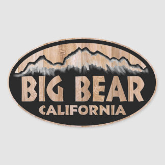 Big Bear California wooden sign oval stickers