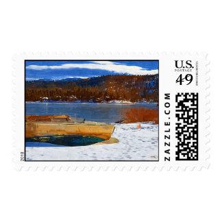 Big Bear Lake, CA Snow Postage Stamp