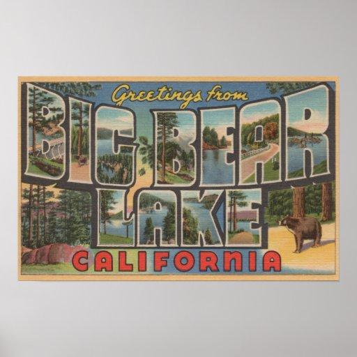 Big Bear Lake, California - Large Letter Scenes Print