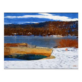 Big Bear Lake, snow and boat Postcard