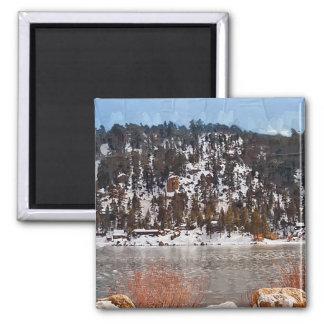 Big Bear Lake, Winter Snow 2 Inch Square Magnet