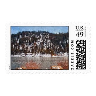 Big Bear Lake winter snow Postage Stamp