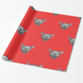 Big Beast Face Wrapping Paper Light Red