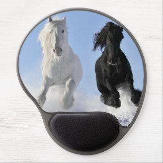 Big beautiful black and white draft horses gel mouse pad