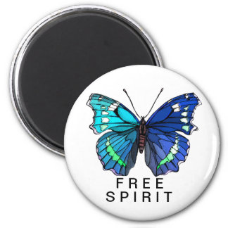 Big Beautiful  Blue Butterfly 2 Inch Round Magnet
