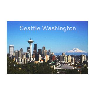 Big Beautiful Seattle Wa And Mount Rainier Canvas Print