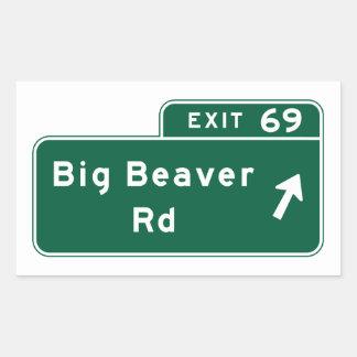 Big Beaver Road, Road Sign, Michigan, USA Rectangular Sticker