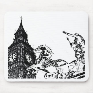 Big Ben and boudica Statue Mouse Mat