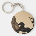 Big Ben and boudica statue sepia toned Key Chains