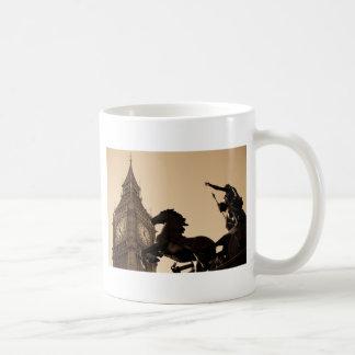 Big Ben and boudica statue sepia toned Mug