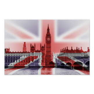 Big Ben and Houses of Parliament, Union Jack Poster