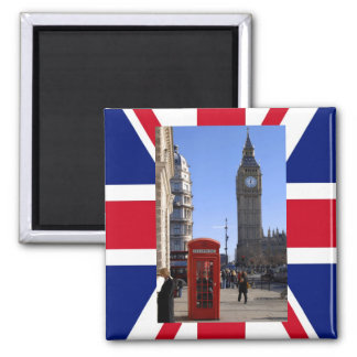 Big Ben and Red Telephone box in London 2 Inch Square Magnet