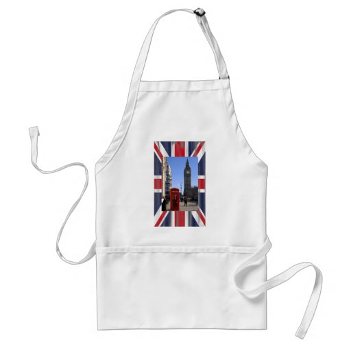 Big Ben and Red Telephone box in London Adult Apron