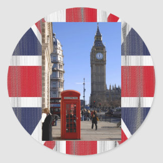 Big Ben and Red Telephone box in London Classic Round Sticker